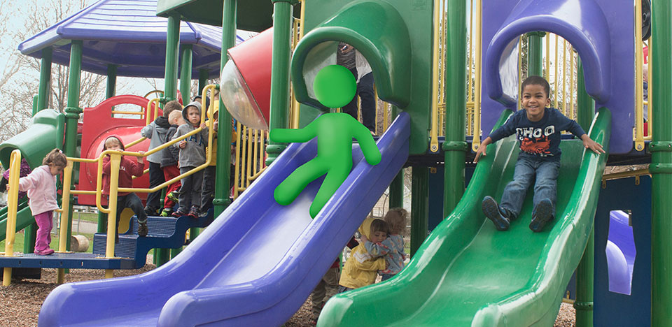 Young children playing on playground