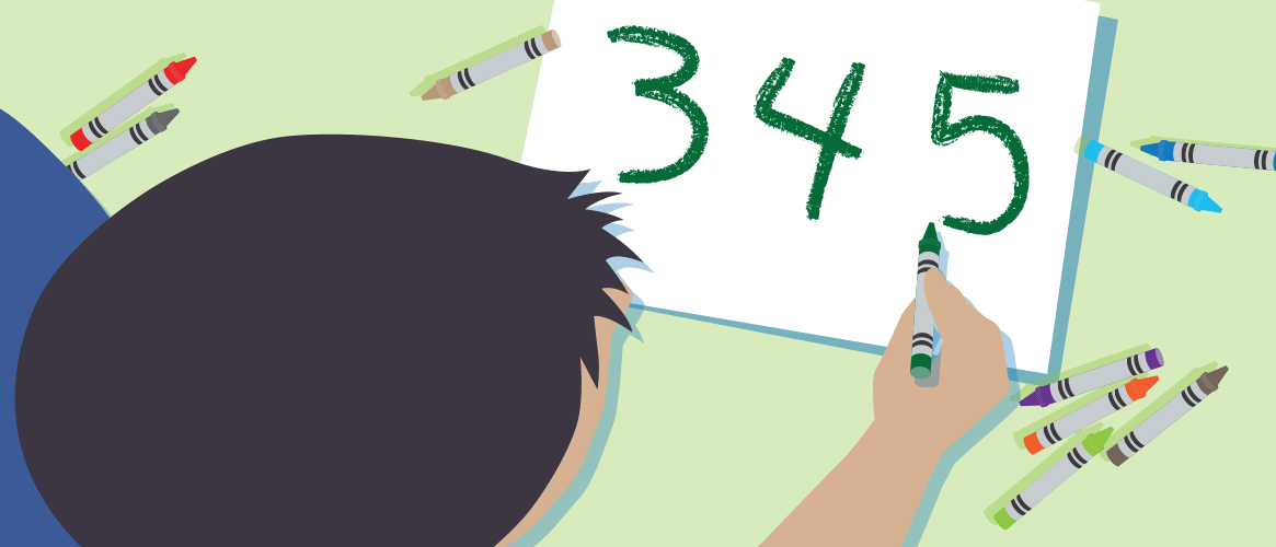 Illustration of child drawing numbers with crayons