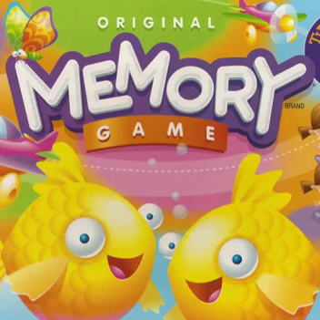 The original 'Memory Game' board game cover with two yellow fishes at the bottom