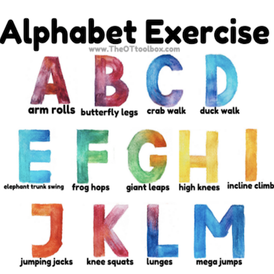 Alphabet exercise and letters A to M written in big fonts