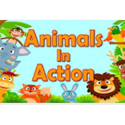 """""""Animals in Action"""" written on a blue background and animated animals on all the corners forming a frame"""