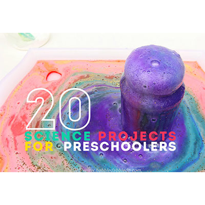 """An object spilling liquid violet color in the background and """"20 Science Projects For Preschoolers"""" written over it"""