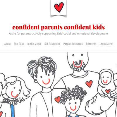 """A sketch of a man holding an infant, a woman, a boy and a girl with """"confident parents confident kids"""" written in the background"""
