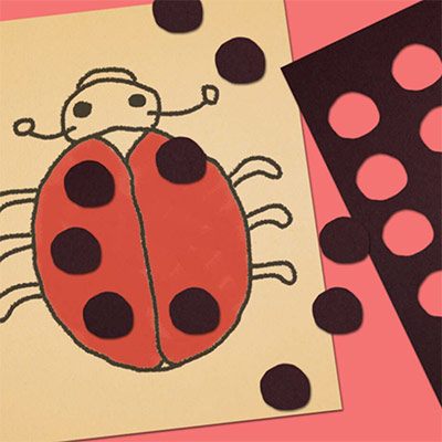 A drawing of Red Bug with black patches on it