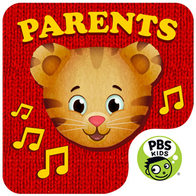 """Daniel Tiger's face in the center and PBS Kids logo at the bottom with """"parents"""" written on top"""