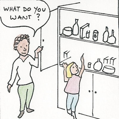 """Sketch of a special needs Build Up coordinator asking a child, """"what do you want?"""""""