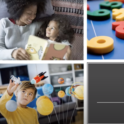 A child and a mother reading a book in the top image and a boy playing with toys in the bottom showing different methods of special education