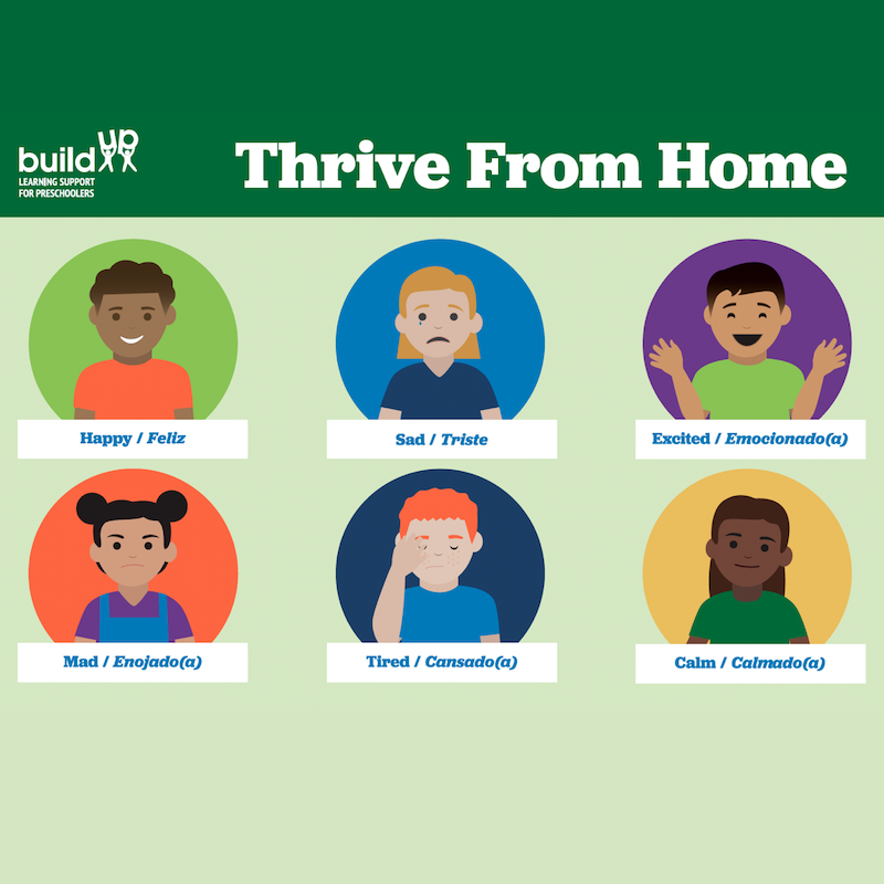 """Six animated children making six different faces and """"Thrive From Home"""" written at the top"""