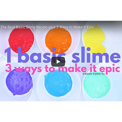 """6 containers with Red, Orange, Yellow, Violet, Blue, Green colors in it and """"1 Basic Slime 3 ways to make it epic"""" written over it"""