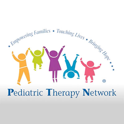 """Pediatric Therapy Logo with five animated kids holding hands and """"Pediatric Therapy Network"""" written below it"""
