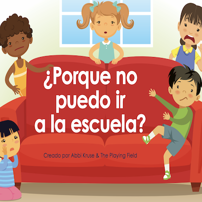 """Five children sitting and standing around a red couch and """"porque no puedo ir a la escuela?"""" written over the couch in white"""