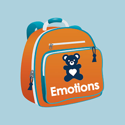 """An animated bag with a teddy bear picture on the front and """"Emotions"""" written under it"""
