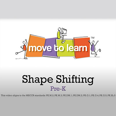 """""""Move to learn"""" written on books and """"Shape shifting Pre-K"""" written as a headline on the bottom"""