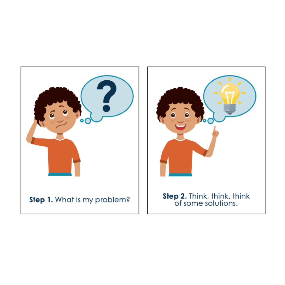 Two side-by-side image of a special child thinking and reacting to a solution