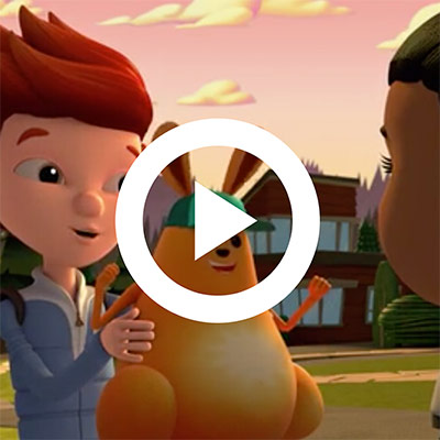 An animated image of two boys talking and an animal beside them