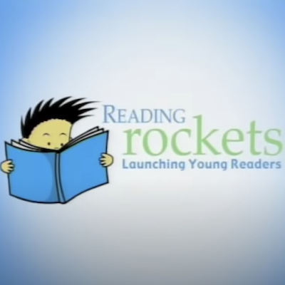 """Face of an animated boy reading a book and """"Reading rockets launching young readers"""" written in the background as a headline"""