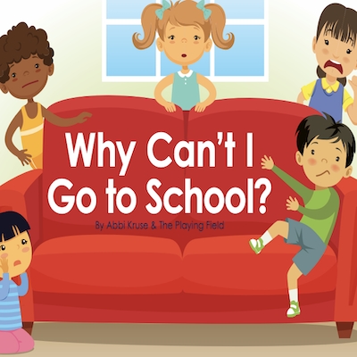 """Five children sitting and standing around a red couch and """"Why can't I go to school?"""" written over the couch in white"""