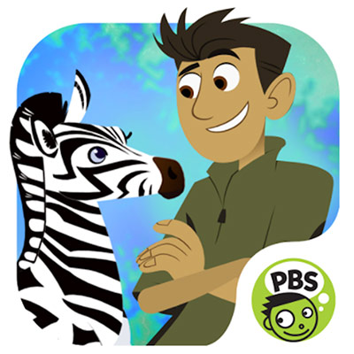Chris Kratt from Wild Kratts talking to a zebra with a PBS logo on the right bottom corner