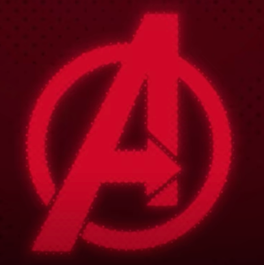 """Marvel Avengers' logo which is an """"A"""" written in Red and a Red circle around it"""
