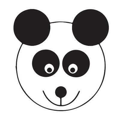 An Animated panda face on a white background