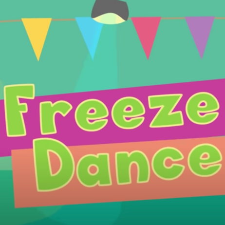Freeze Dance written at the center in green and a bulb and paper decoration at the top