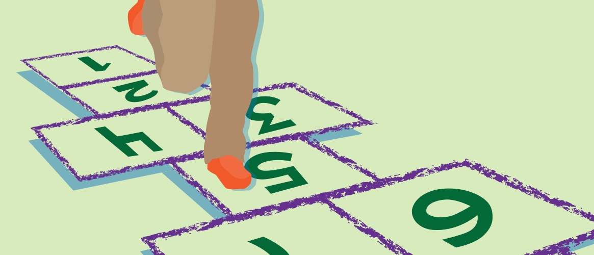 Illustration of child playing hopscotch