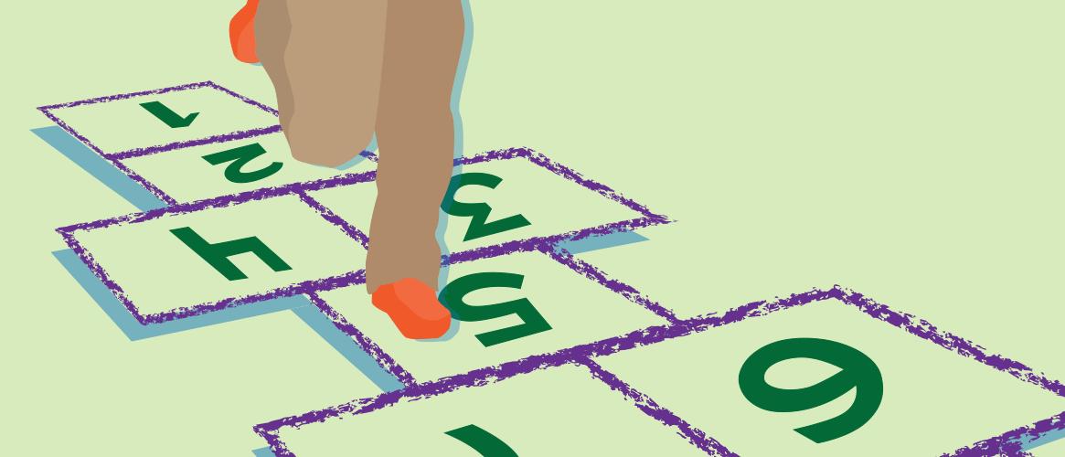 Illustration of child playing hopscotch